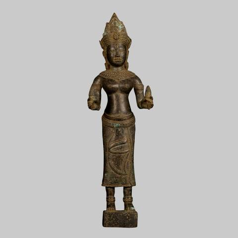 Eastern Treasures Antique Khmer style Bronze Apsara or Heavenly Angel Sculpture