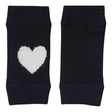 Laycuna London Navy Heart Cashmere Wrist Warmer