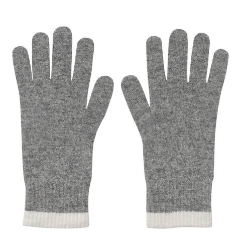 Laycuna London Grey/White Ribbed Short Cashmere Gloves