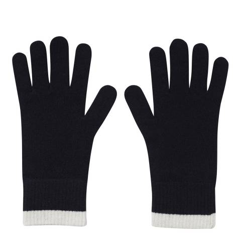 Laycuna London Navy/White Ribbed Short Cashmere Gloves