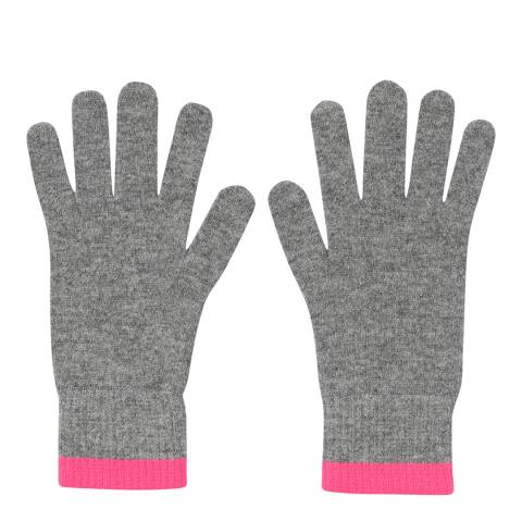 Laycuna London Grey/Pink Ribbed Cashmere Gloves