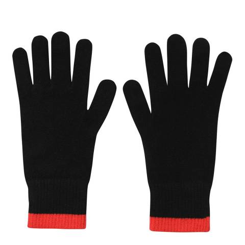 Laycuna London Black/Red Ribbed Short Cashmere Gloves