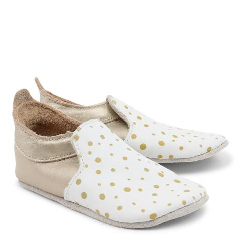 Bobux Baby White/Gold Spots Trims Loafer