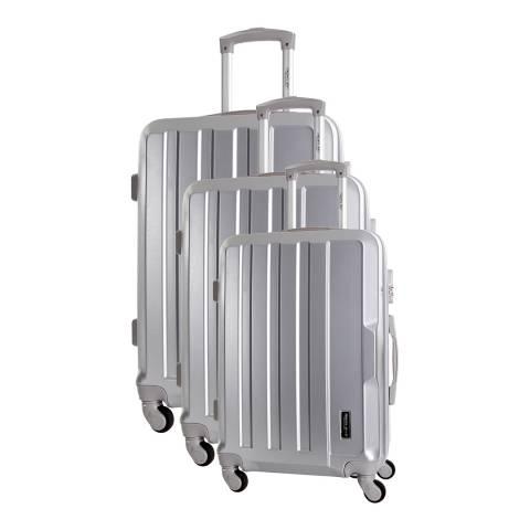 Travel One Silver Vilarosa Set Of Three 4 Wheeled Suitcases 46/56/66cm