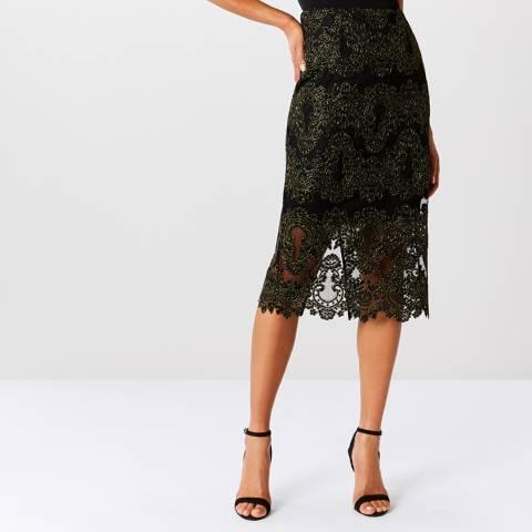 Coast Black Layla Lace Pencil Skirt