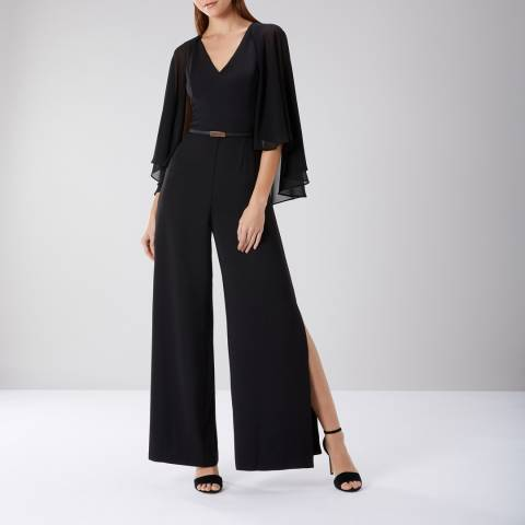 Coast Black Mari Cape Sleeve Jumpsuit
