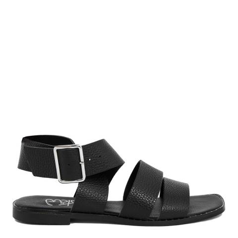 Gusto Black Leather Chunky Strap Sandal