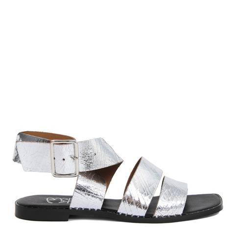Gusto Silver Leather Chunky Strap Sandal