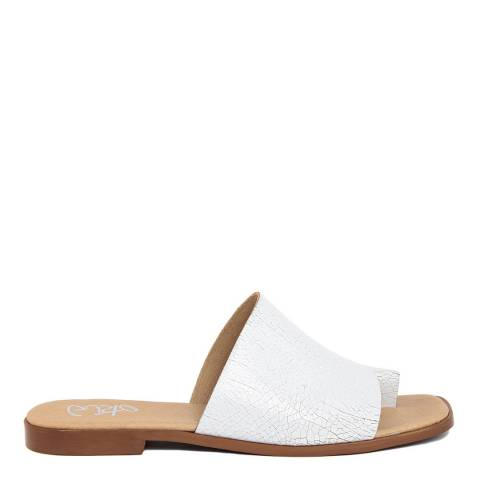 Gusto White Leather Slip On Sandal
