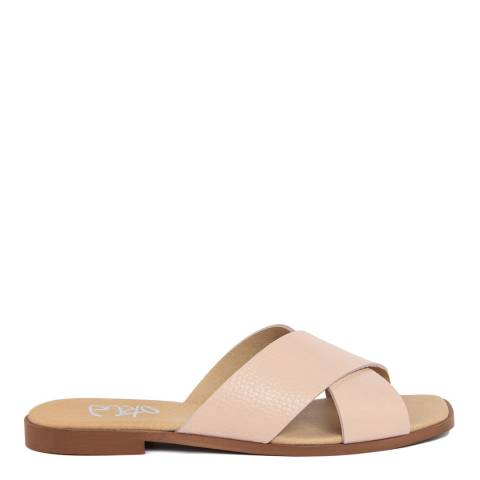 Gusto Nude Leather Cross Strap Square Toe Sandal