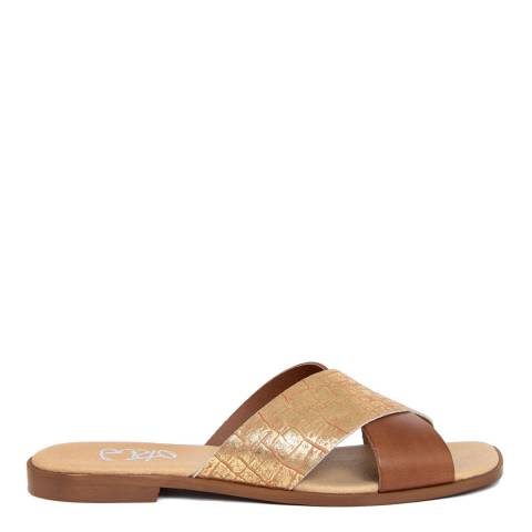 Gusto Gold And Brown Leather Cross Strap Square Toe Sandal