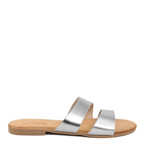 Lionellaeffe Silver Leather Uneven Double Strap Sandal