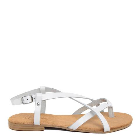 Lionellaeffe White Leather Cross Strap Toe Thong Sandal