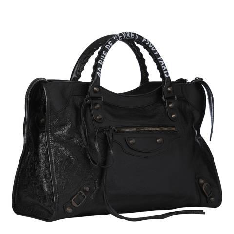 Balenciaga Black Classic City Graffiti Leather Bag