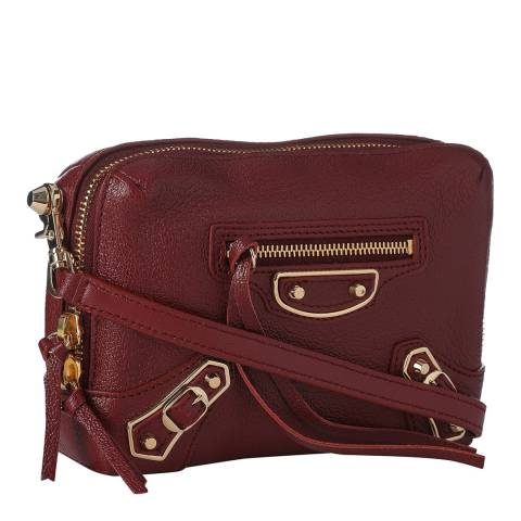 Balenciaga Burgundy Classic Reporter Leather Crossbody Bag