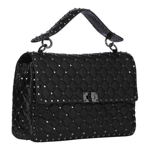 Valentino Black Large Rockstud Leather Shoulder Bag