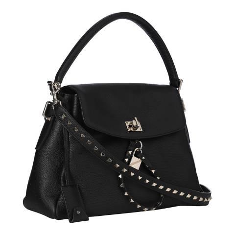 Valentino Black Top Handle Leather Bag