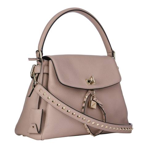 Valentino Pale Rose Top Handle Leather Bag