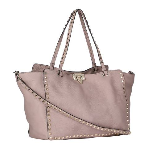 Valentino Pale Rose Medium Rockstud Rolling Leather Tote