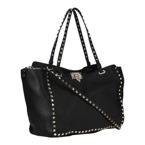 Valentino Black Medium Rockstud Rolling Leather Tote