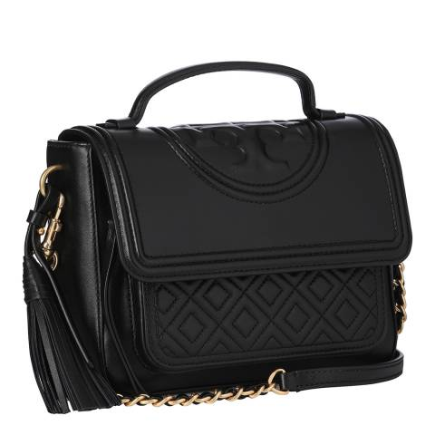 Tory Burch Black Fleming Leather Satchel