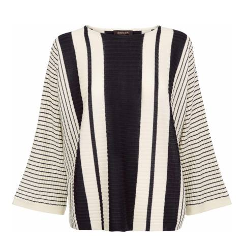 Jaeger Striped Rib Cropped Sweater