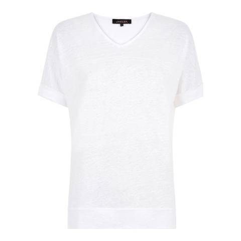 Jaeger White V Neck Linen T-shirt