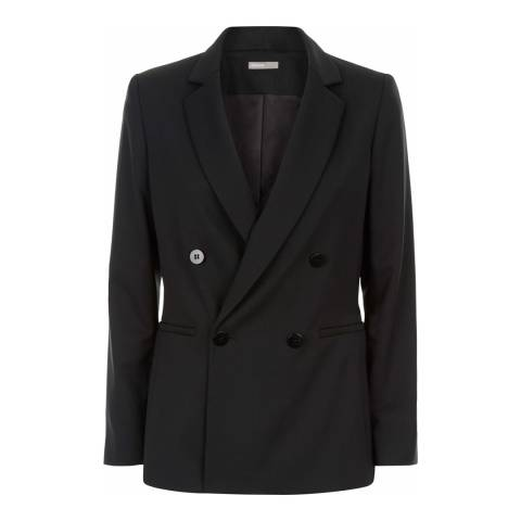 Jaeger Black Double Breasted Wool Blend Jacket