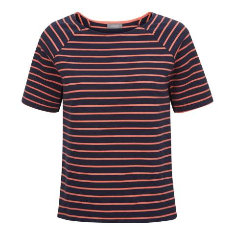 Jaeger Navy/Orange Short Sleeve Breton Top