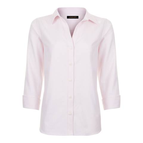 Jaeger Light Pink Herringbone Cotton Shirt