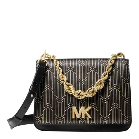 Michael Kors Black/Gold Mott Large Metallic Deco Leather Crossbody