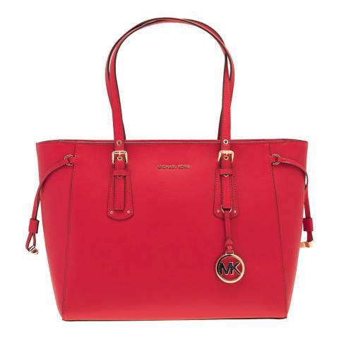 Michael Kors Bright Red Voyager Medium Tote Bag
