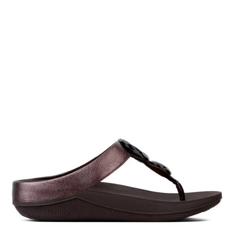 FitFlop Women's Bronze Leather Luna Pop Slide Sandal