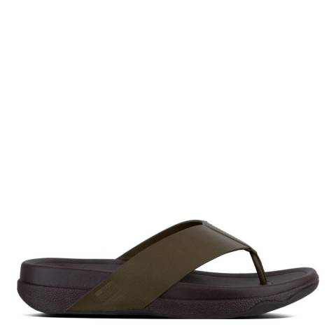 FitFlop Men's Everglade Green Leather Surfer Toe Thong Sandals