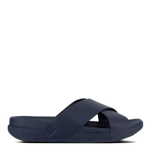 FitFlop Men's Midnight Navy Leather Surfer Slide