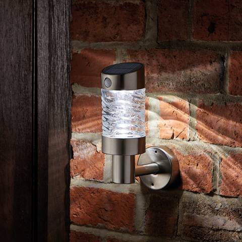 Smart Solar Silver Wave Wall Light