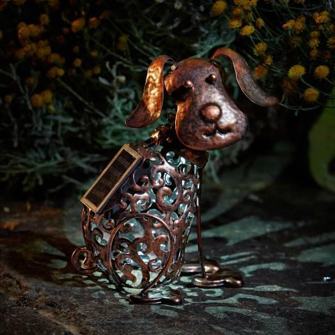 Smart Solar Bronze Dog Silhouette Sculpture