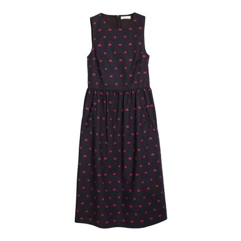 Chinti and Parker Navy Ladybird Fitted Dress