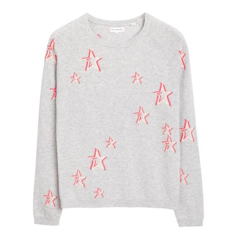Chinti and Parker Silver Marl/Cream/Coral Cashmere 3D Star Jumper