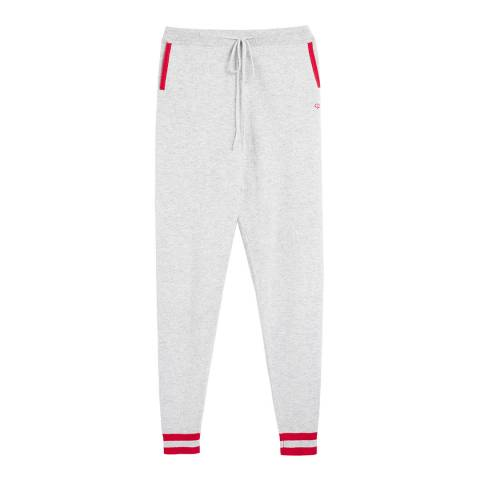 Chinti and Parker Silver Marl/Cherry/Cream Cherry Track Trousers