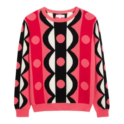 Chinti and Parker Coral/Multi Abstract Scallop Jumper