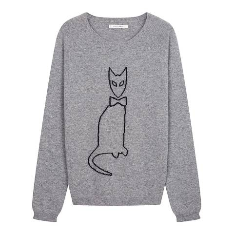 Chinti and Parker Grey/Black Cashmere Cat Outline Jumper