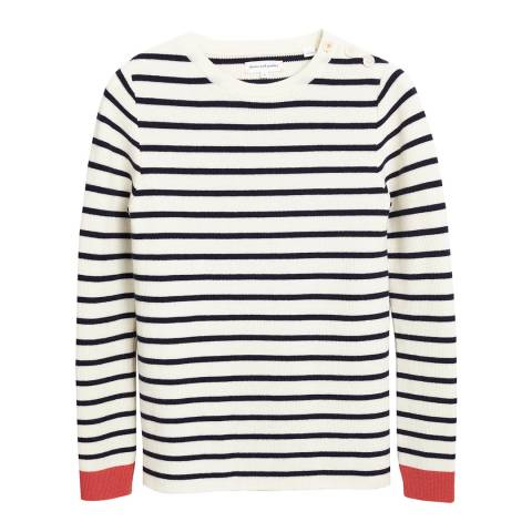 Chinti and Parker Crm/Navy Ribbed Breton Colourblock Jumper