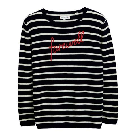 Chinti and Parker Navy/Cream/Red Farewell Intarsia Jumper