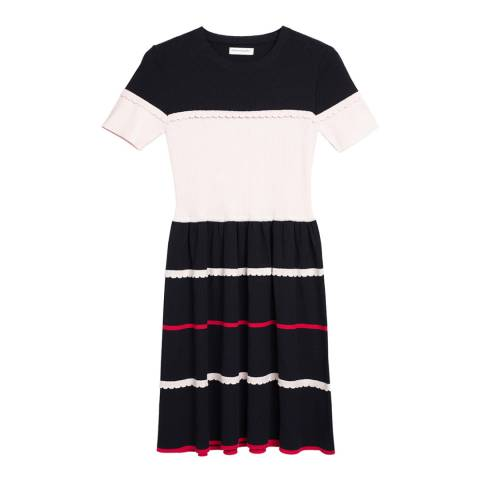 Chinti and Parker Navy/Blsh/Chry Scalloped Colour Block Dress