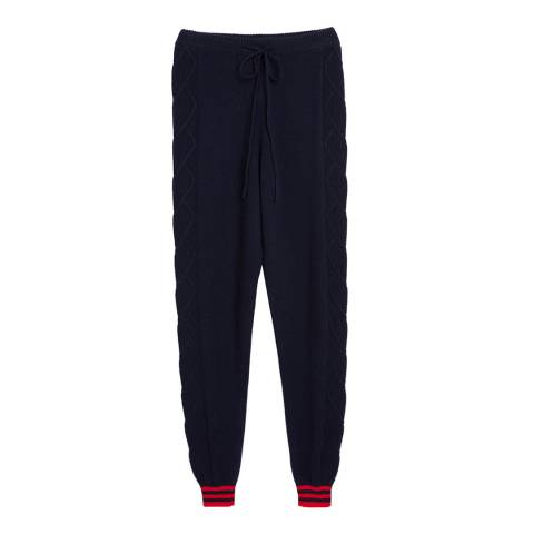 Chinti and Parker Navy/Cherry Heart Aran Track Trousers