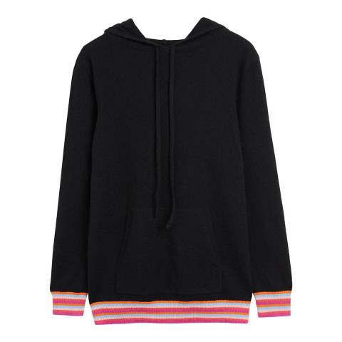 Chinti and Parker Black/Multi Stripe Cuff Hoodie