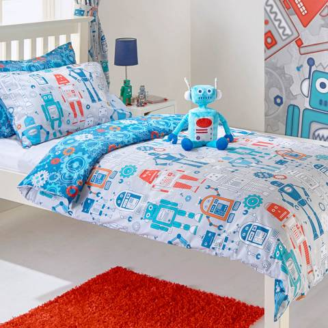 Paoletti Robot Double Duvet Cover Set, Blue
