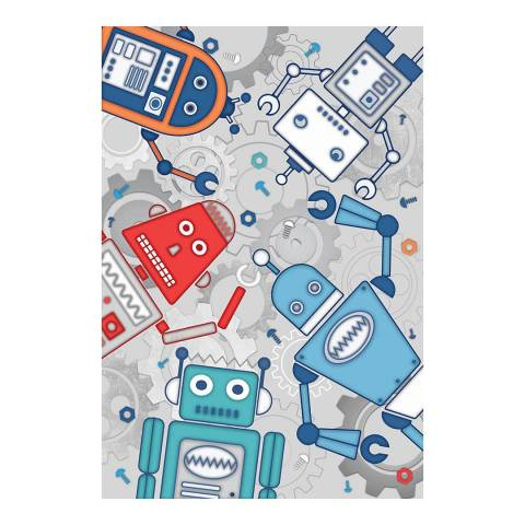 Paoletti Robot Wall Mural, Blue