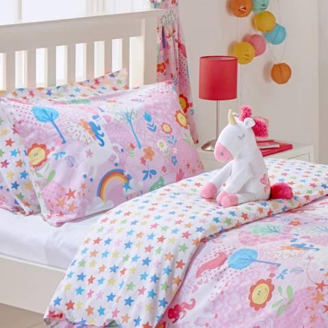Paoletti Unicorn Toddler Duvet Cover Set, Pink/White